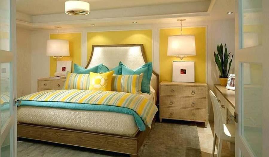 اتاق خواب زرد رنگ